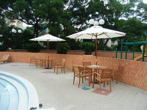 香港沙田花园户外柚木桌椅项目