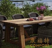 户外家具,实木户外桌,仿藤椅