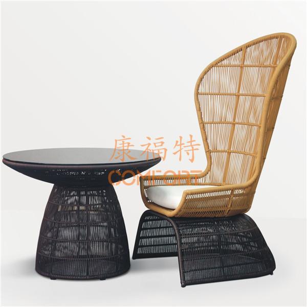 酒店户外休闲椅,高背藤椅【1025】