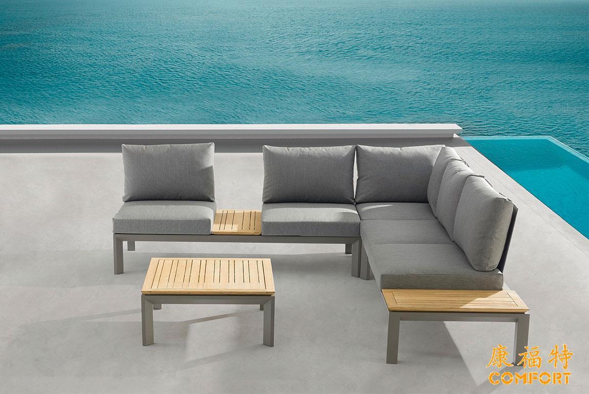 新品热销北欧户外柚木沙发休闲户外铝板沙发