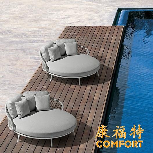 酒店泳池躺床圆床户外休闲躺椅休息沙发床定制