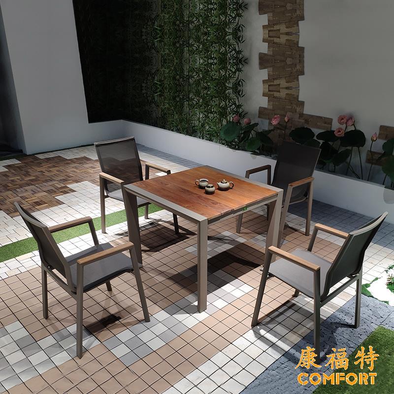 欧式简约户外实木桌椅柚木桌椅