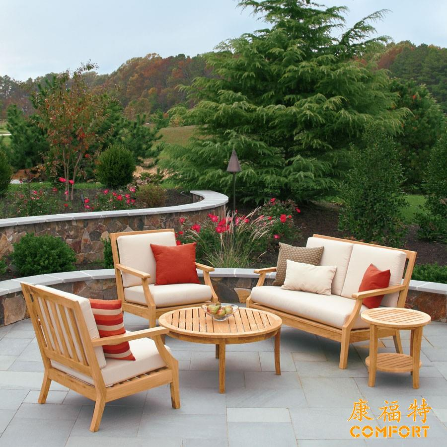 别墅花园休闲柚木沙发套装柚木沙发防雨防晒耐用